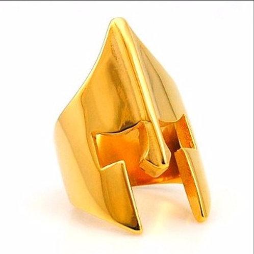 HIGH POLISHED MINIMALIST SPARTAN HELMET RING IP GOLD