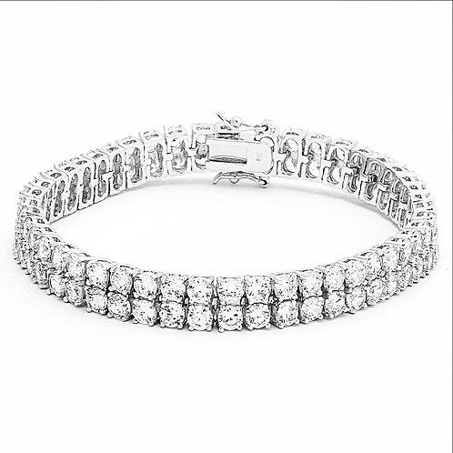 2 ROW SIMULATED DIAMOND BRACELET PLATINUM