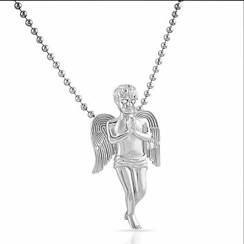 MICRO PRAYING ANGEL WITH CZ EYES PLATINUM