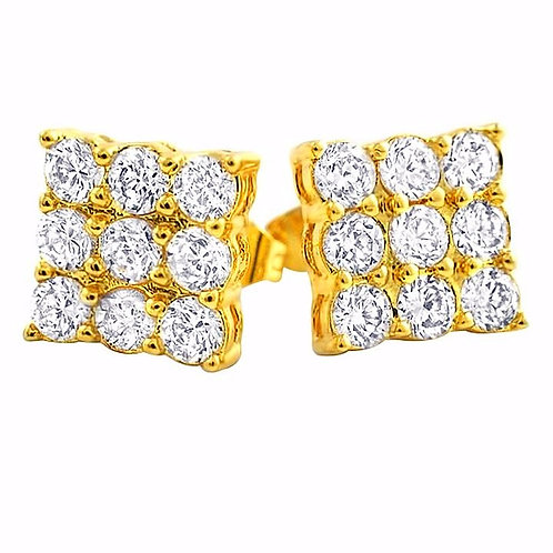 9 STONE PRONG SET CZ STUD EARRINGS 2 CARAT GOLD