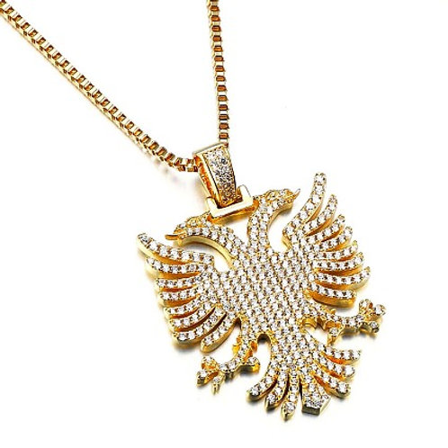 DOUBLE-HEADED EAGLE CZ PAVED STATEMENT PENDANT & NECKLACE SET GOLD