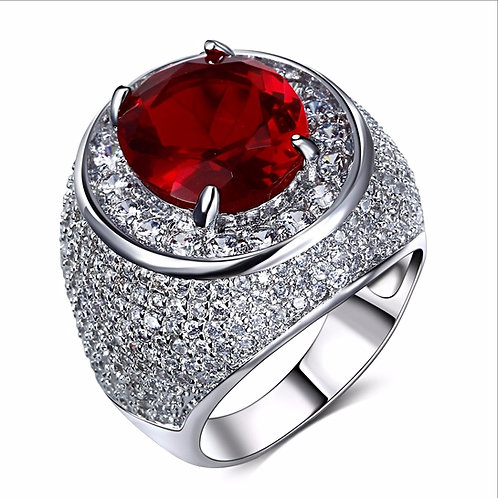 LAB MADE RUBY SOLITAIRE ICED OUT RING