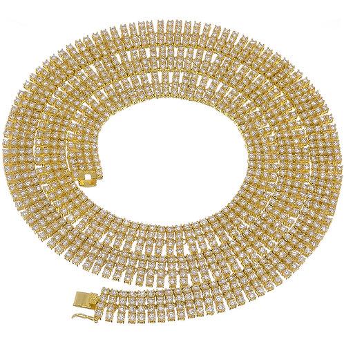 4 ROW LAB MADE DIAMOND TENNIS CHAIN GOLD
