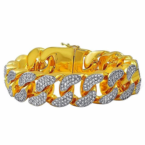 MICRO PAVED CRUSHED LOOKING ICE 22MM CHUNKY MIAMI CUBAN BRACELET