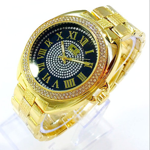 ROMAN NUMBERAL MICRO PAVE FACE BEZEL WATCH GOLD