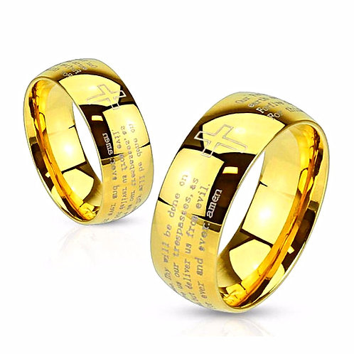 LORDS PRAYER LASER ETCHED GOLD IP RING