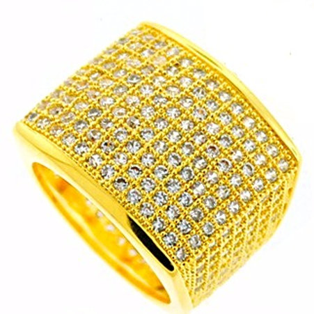 ALL AROUND ICED OUT RING GOLD