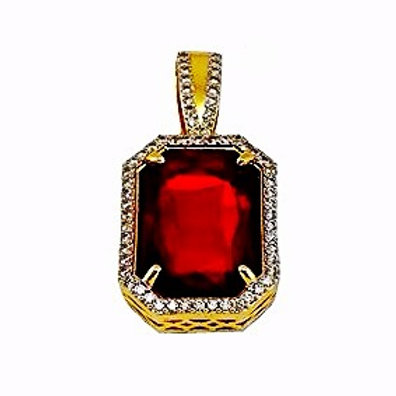 LAB CRAFTED RUBY OCTAGON GOLD