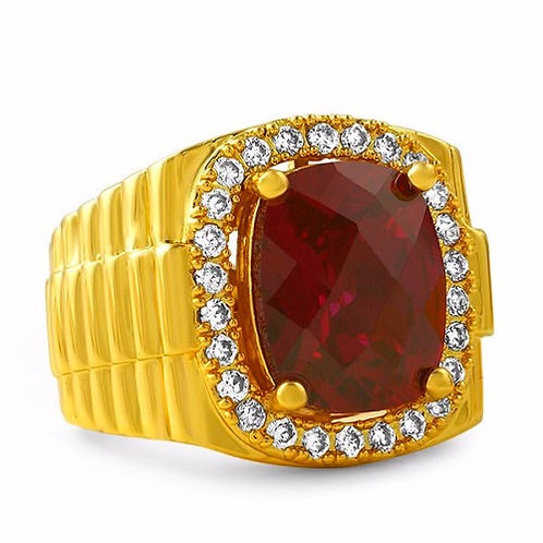 SYNTHETIC RUBY PRESIDENTIAL RING GOLD