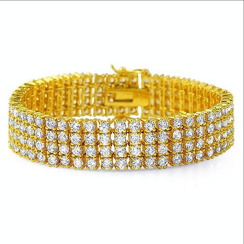 4 ROW SIMULATED DIAMOND BRACELET GOLD