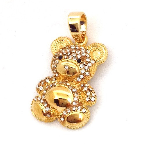 Teddy bear pendant gold this high quality pendant is made with the finest lab made vvs flawless simulated diamonds all are prong set micropave style and look exactly like genuine aloadofball Images