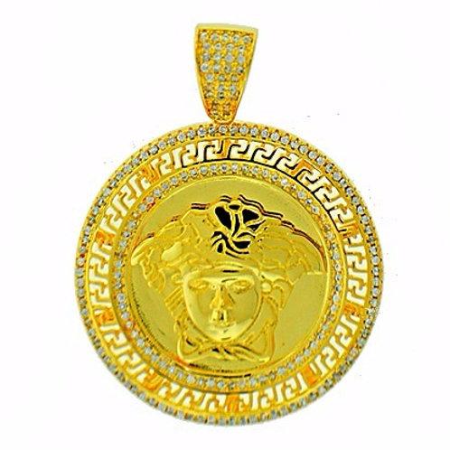 MICRO PAVED MEDUSA MEDALLION PENDANT GOLD