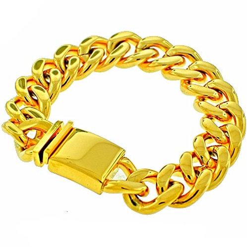 HIGH POLISHED MIAMI CUBAN 16MM BRACELET IP GOLD