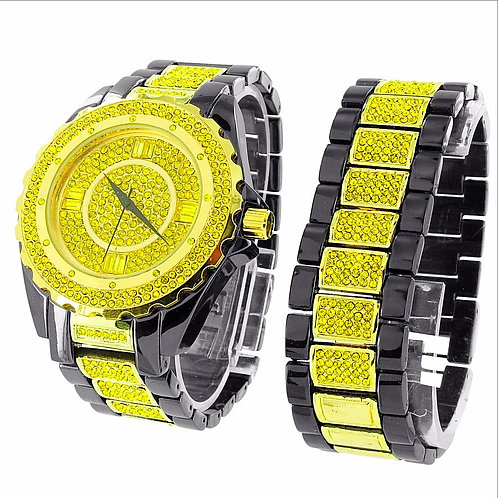 ULTRA BLING TWO TONE WATCH & BRACELET SET