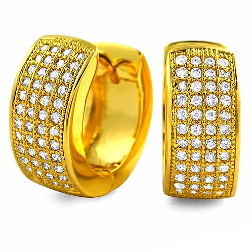 4 ROW ICED OUT HOOP EARRINGS GOLD