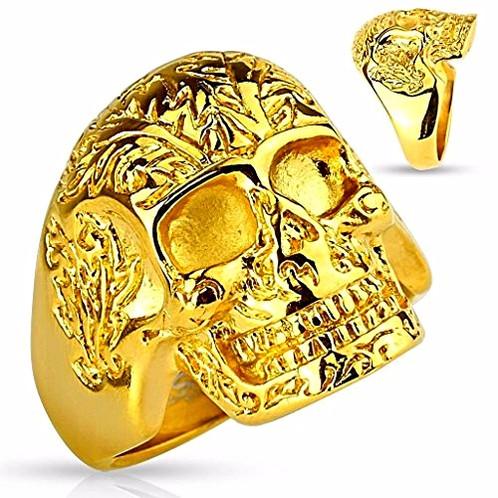 Pattern Floral Gold Skull Ip Ring BoeQrCxWEd