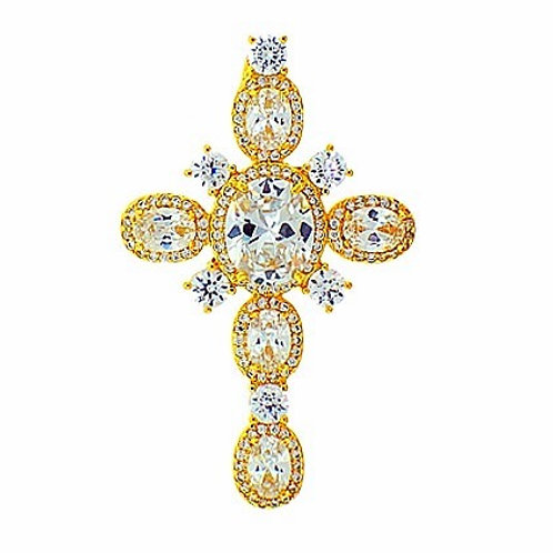 ORO LAMINADO SNOW FLAKE  ICED OUT CZ CROSS PENDANT