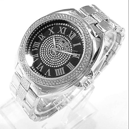 ROMAN NUMBERAL MICRO PAVE FACE BEZEL WATCH PLATINUM