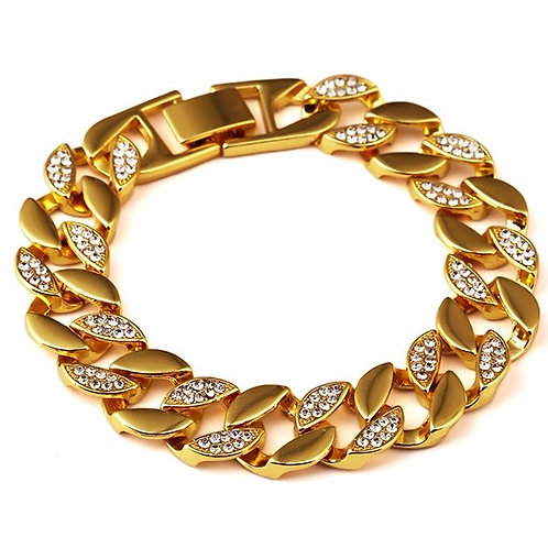 HALF ICED OUT MIAMI CUBAN 15MM GOLD