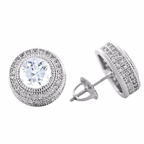 CENTER STONE CLUSTER PAVED CZ PREMIUM EARRINGS PLATINUM