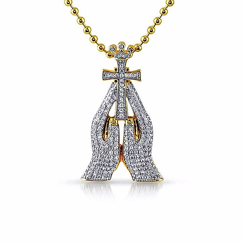 3D MINI PRAYING HANDS ICED PENDANT & NECKLACE SET GOLD