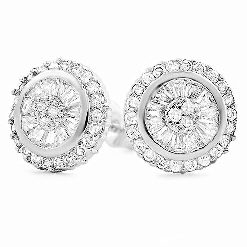 BAGUETTE CZ ICED OUT STUD EARRINGS PLATINUM