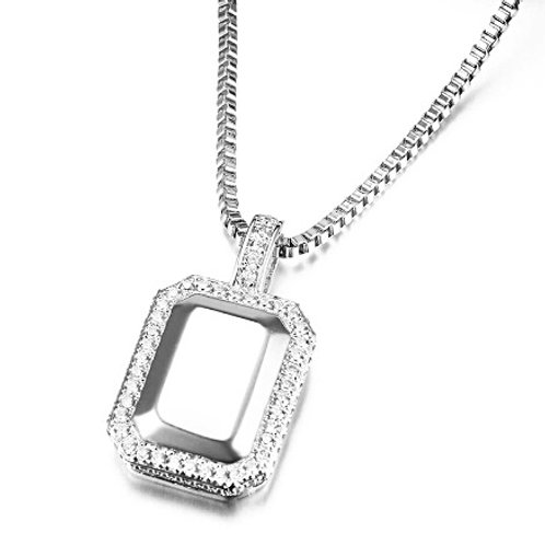 SILVER GEM STYLE ICED OUT PENDANT & NECKLACE SET