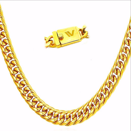 HIGH POLISHED TRIPLE LINKED ROUNDED CUBAN CURB CHAIN 13MM IP GOLD