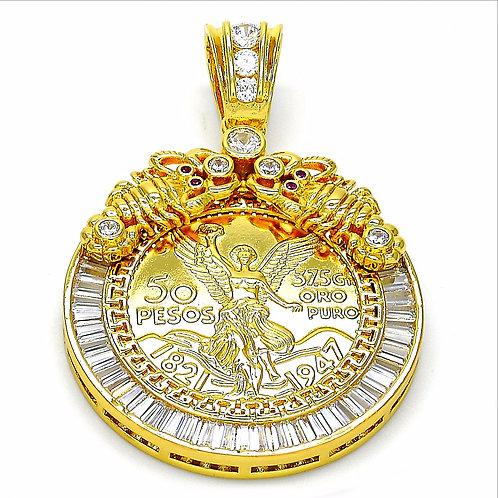 ORO LAMINADO COLLEZIONI 50 PESO GOLD COIN DESIGN PENDANT