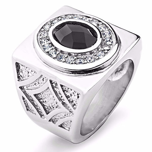 OVAL ONYX GEM CLEAR CZ DIAL WIDE CAST RING