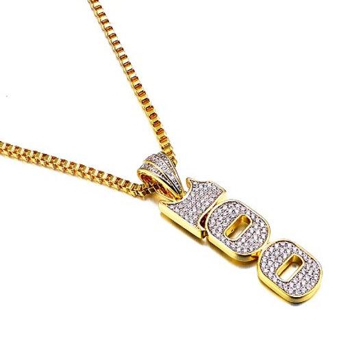 100 DOLLAR BILL FONT DESIGN PENDANT & NECKLACE SET GOLD