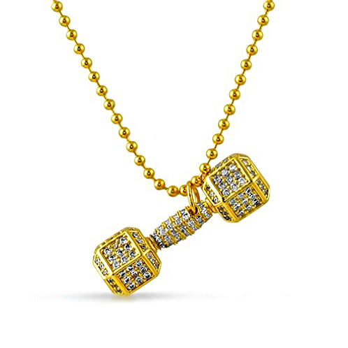 ICED OUT CZ DUMBELL PENDANT GOLD