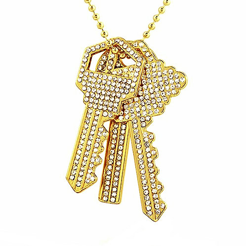 ICED OUT 3 HOUSE KEYS SET GOLD