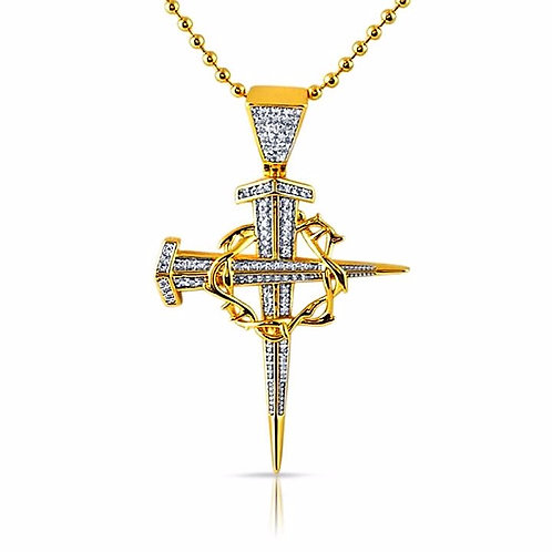 STAKE AND THORN CROSS CHAIN GOLD
