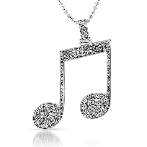 ICED OUT MUSIC NOTE PENDANT PLATINUM