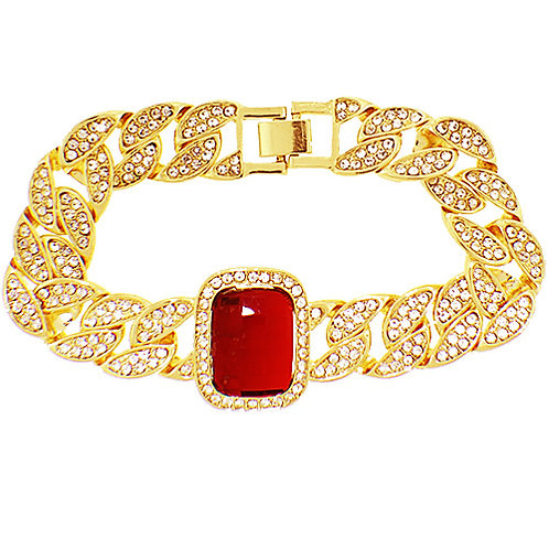 RED GEM SOLITAIRE ICED OUT CUBAN LINK GOLD