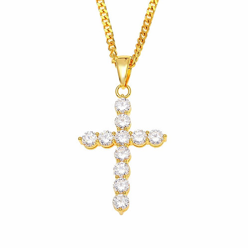ICED OUT CZ ROW CROSS PENDANT & NECKLACE SET GOLD