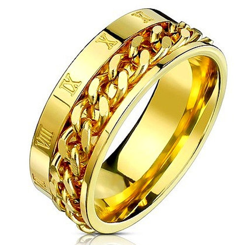 HIGH POLISHED ROMAN NUMBERAL SPINNER CHAIN RING IP GOLD