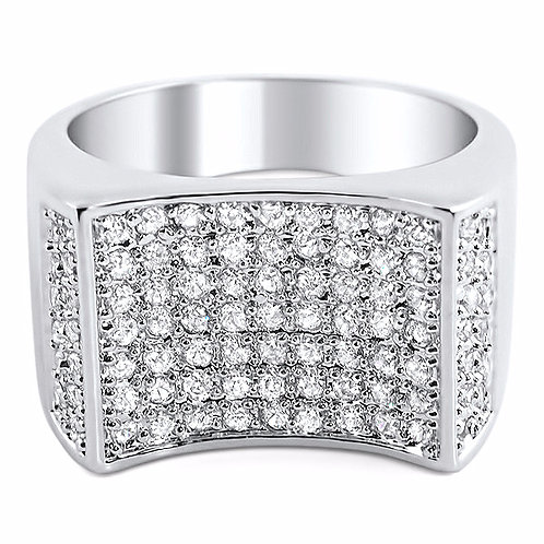 CONCAVE LAB MADE ICED OUT RING PLATINUM