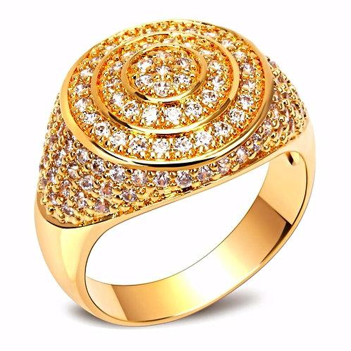 MICRO PAVED CIRCULAR TARGET RING GOLD
