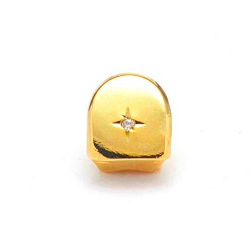CENTER STONE SINGLE TOOTH GRILL CAP GOLD