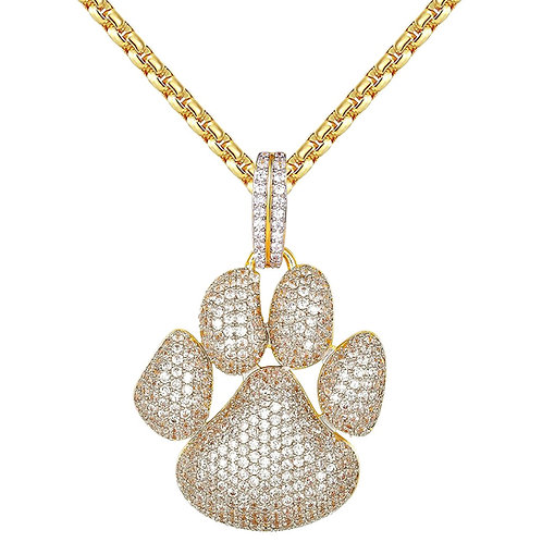 DOG PAW PRINT CUSTOM PENDANT & NECKLACE SET GOLD