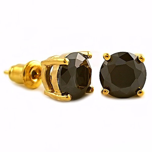 VVS FLAWLESS BLACK ROUND CZ STUD EARRINGS GOLD