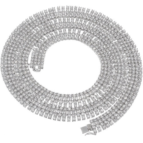 4 ROW LAB MADE DIAMOND TENNIS CHAIN PLATINUM