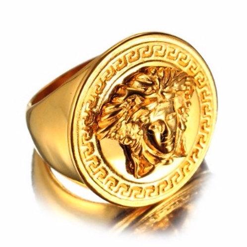 HIGH POLISHED MEDUSA RING IP GOLD