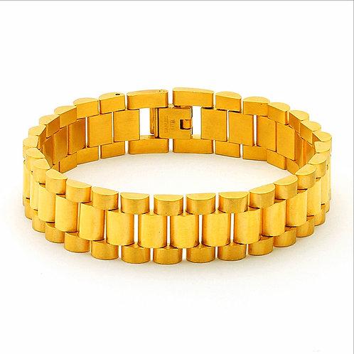 HIGH POLISHED PRESIDENTIAL LINK 15MM BRACELET GOLD