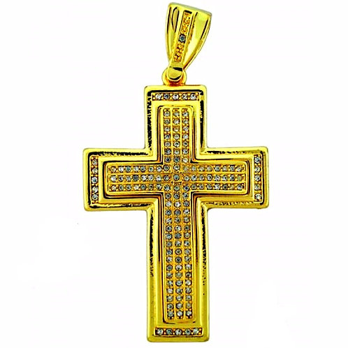 LARGE ICED OUT CROSS GOLD PENDANT