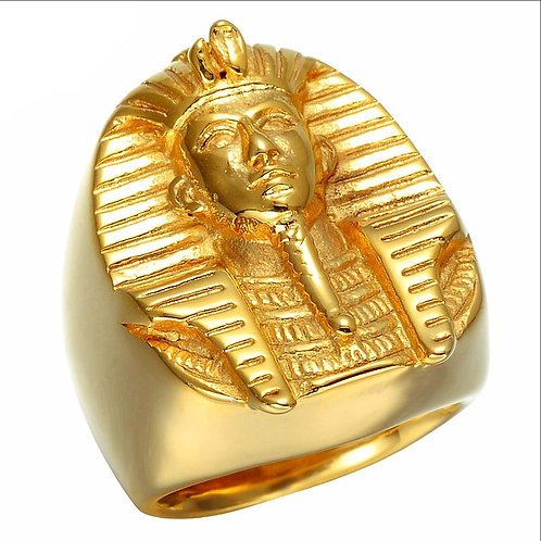 HIGH POLISHED EGYPT PHARAOH KING RING IP GOLD