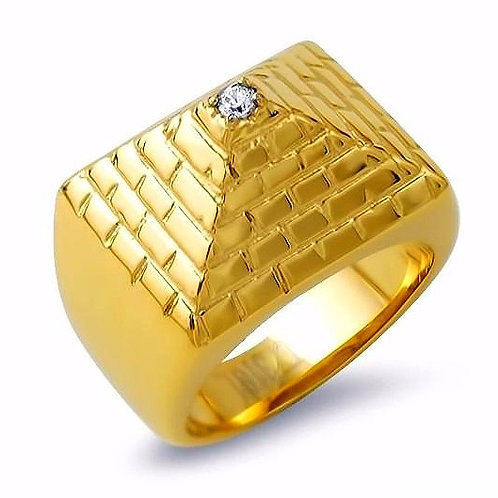 HIGH POLISHED PYRAMID RING IP GOLD