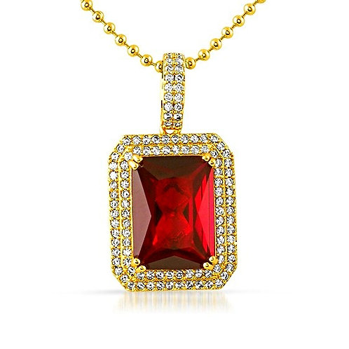 DOUBLE ICED OUT LAB MADE OCTAGON RUBY GOLD